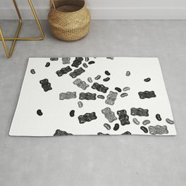 Black and White Gummy Bears Explosion Rug