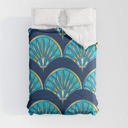 Art Deco Fan Blue Comforters