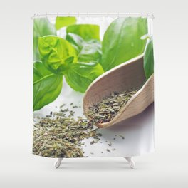 Basil herbs for kitchen Shower Curtain