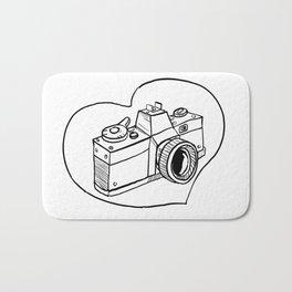 Vintage 35mm SLR Camera Heart Drawing Bath Mat
