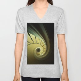 Spiral staircase in green and yellow Unisex V-Neck