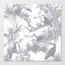 Toucans and Bromeliads - Sharkskin Grey Canvas Print