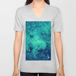 Teal Turquoise GalaXy. Sparkle Stars Unisex V-Neck