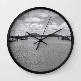 Moored boats in tranquil scene Wall Clock