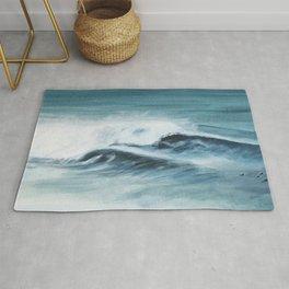 Surfing big waves Rug
