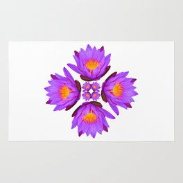 Purple Lily Flower - On White Rug