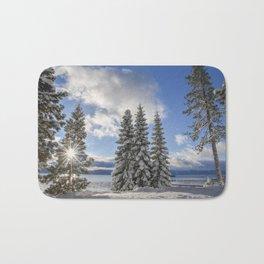 Sunrise in Lake Tahoe with Fresh Snow Bath Mat