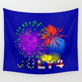 America 4th of July Fireworks Wall Tapestry
