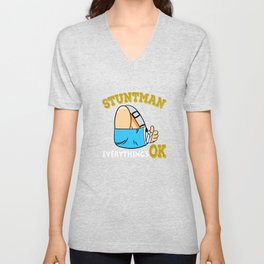 Cute and attractive tee design for your stuntman friend! Makes a nice gift this holiday too!  Unisex V-Neck