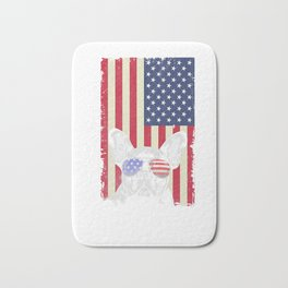 French Bulldog American Flag Vintage Independence Day   Premium T-Shirt Bath Mat
