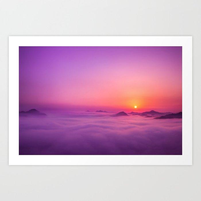 Korean Sunrise over the clouds Art Print