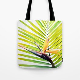 Bird of Paradise and Palm Frond Tote Bag