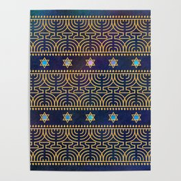 Hanukkah Menorah Pattern Poster