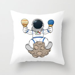 A Fan Of Astronomy? An Astronaut Dreamer? Here's An Antronaut Eating Ice Cream Dessert T-shirt Throw Pillow