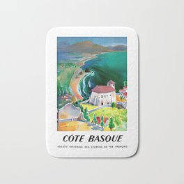 1946 France Cote Basque Railway Travel Poster Bath Mat