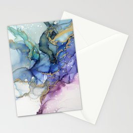 Moody Mermaid Bubbles Abstract Ink Stationery Cards