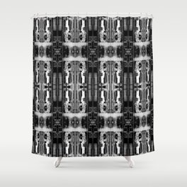 Dissemination in Black and White Shower Curtain