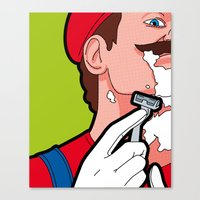 the secret life of heroes Canvas Prints featuring The secret life of heroes - MarioHair by Greg-guillemin
