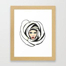 White Lunar Rose Framed Art Print