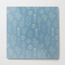 Cactus Silhouette Blue Metal Print
