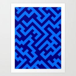 Brandeis Blue and Navy Blue Diagonal Labyrinth Art Print