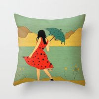 lonely Throw Pillows featuring Lonely by Danelys Sidron