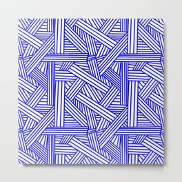 Sketchy Abstract (Blue & White Pattern) Metal Print
