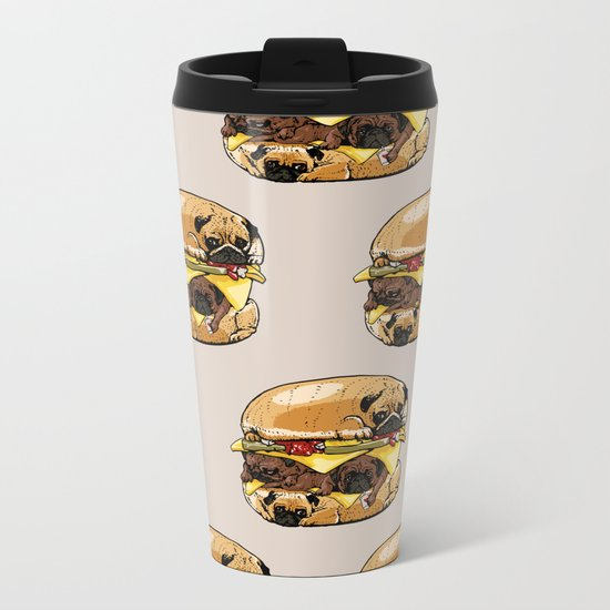 Pugs Burger Metal Travel Mug