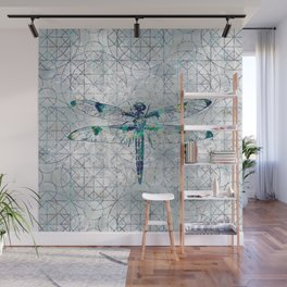 Gemstone Dragonfly on sacred geometry pattern Wall Mural