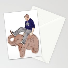Christian rides an Elephant Stationery Cards