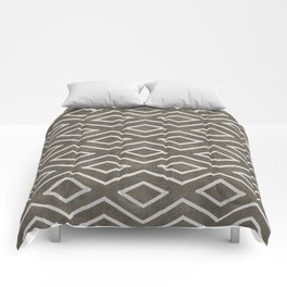 Stitch Diamond Tribal in Khaki Comforters