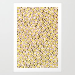 Ditsy Flora Yellow Art Print