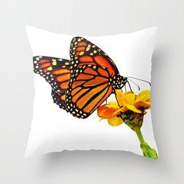 Monarch Butterfly on Zinnia Flower Throw Pillow