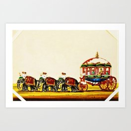 Classical Masterpiece 1820 'Maharaja Elephant-drawn Carriage, Bombay, Indian - Artist Unknown Art Print