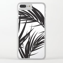 Black and White Palm Leaves Clear iPhone Case
