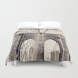 Brooklyn bridge, New York city, black & white photography, wall decoration, home decor, nyc fine art Duvet Cover