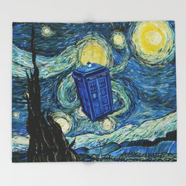 Tardis Dr. Who Starry Night Throw Blanket