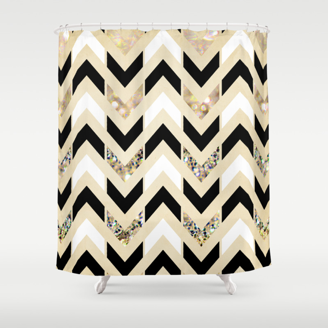 black white chevron shower curtain.  Mixed media Pattern and Vintage Shower Curtains Society6