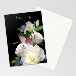 White Roses and Morning Glory Stationery Cards