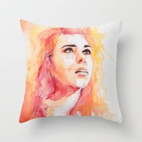 bad wolf Throw Pillows featuring Bad Wolf by Maria Bruggeman