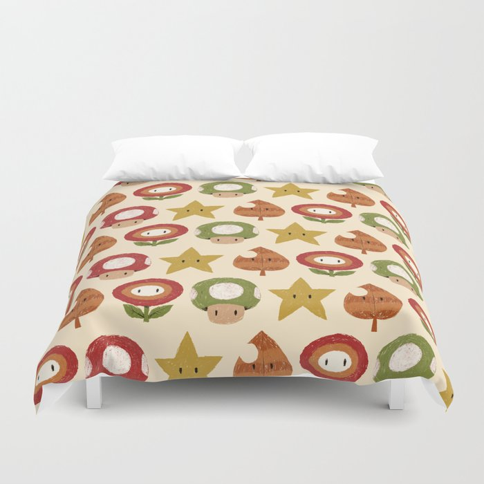 mario items pattern Duvet Cover