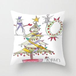 Festive Christmas Scene Throw Pillow