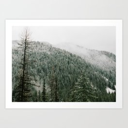 Snow Comes to the Mountains Art Print