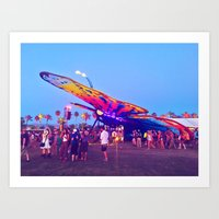 coachella Art Prints featuring coachella butterfly by katelyndee