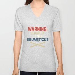 Drummer percussion music drum singing Unisex V-Neck