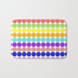 Stylized round multi-colored flowers (white background) Bath Mat