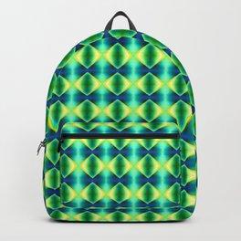 Green Yellow Geometric Metallic Diamond Pattern Backpack