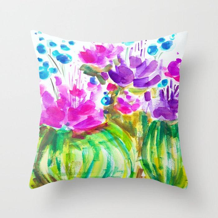 Flowerista Cactus Throw Pillow