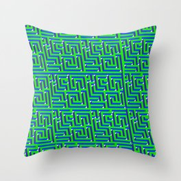Crazy Maze Square Pattern Throw Pillow