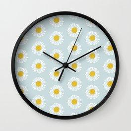 Daisy pattern basic flowers floral blossom botanical print charlotte winter Wall Clock